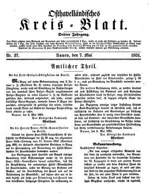 Osthavelländisches Kreisblatt vom 07.05.1851