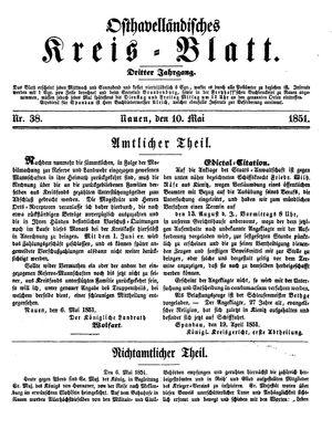 Osthavelländisches Kreisblatt vom 10.05.1851