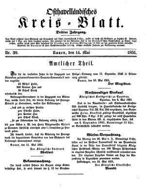 Osthavelländisches Kreisblatt vom 14.05.1851