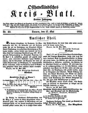Osthavelländisches Kreisblatt vom 17.05.1851