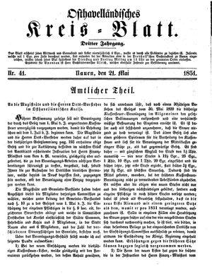 Osthavelländisches Kreisblatt vom 21.05.1851
