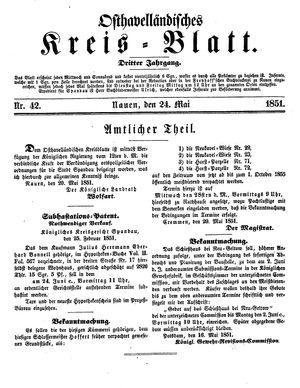 Osthavelländisches Kreisblatt vom 24.05.1851