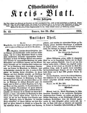 Osthavelländisches Kreisblatt vom 28.05.1851