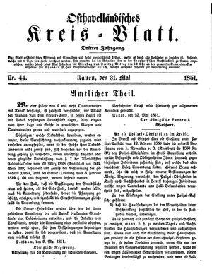 Osthavelländisches Kreisblatt vom 31.05.1851
