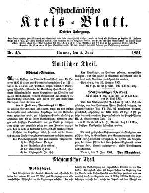 Osthavelländisches Kreisblatt vom 04.06.1851