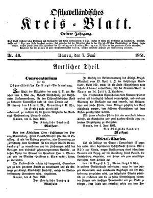 Osthavelländisches Kreisblatt on Jun 7, 1851