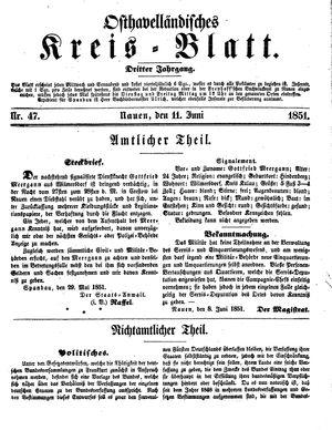 Osthavelländisches Kreisblatt vom 11.06.1851
