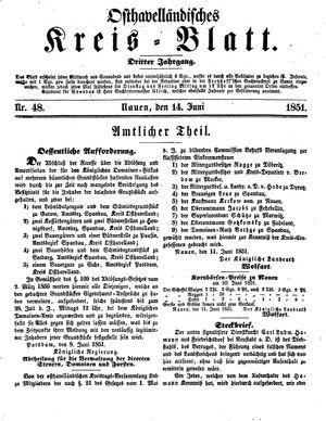Osthavelländisches Kreisblatt vom 14.06.1851