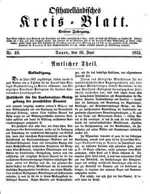 Osthavelländisches Kreisblatt vom 18.06.1851