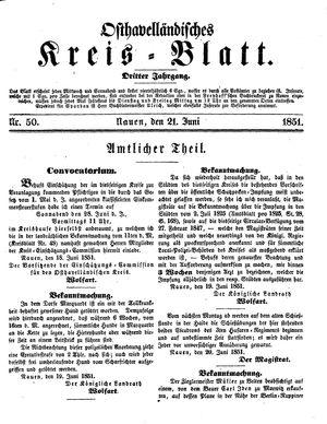 Osthavelländisches Kreisblatt vom 21.06.1851