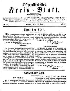 Osthavelländisches Kreisblatt on Jun 25, 1851