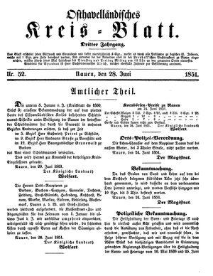 Osthavelländisches Kreisblatt on Jun 28, 1851