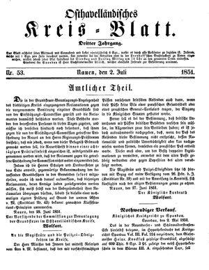 Osthavelländisches Kreisblatt vom 02.07.1851