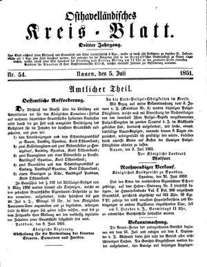 Osthavelländisches Kreisblatt vom 05.07.1851