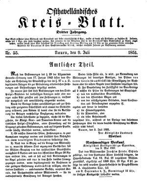 Osthavelländisches Kreisblatt on Jul 9, 1851