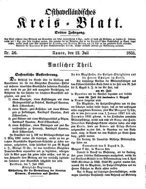 Osthavelländisches Kreisblatt vom 12.07.1851