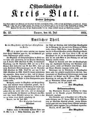 Osthavelländisches Kreisblatt vom 16.07.1851