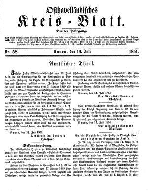 Osthavelländisches Kreisblatt vom 19.07.1851