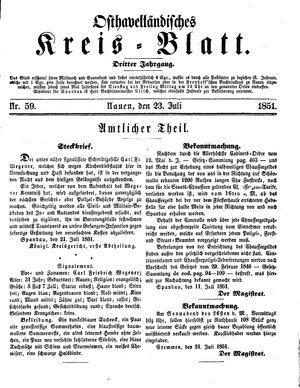 Osthavelländisches Kreisblatt vom 23.07.1851