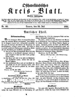 Osthavelländisches Kreisblatt vom 26.07.1851