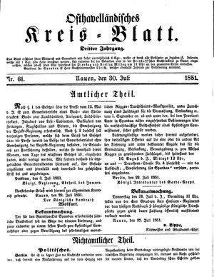 Osthavelländisches Kreisblatt vom 30.07.1851