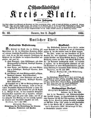 Osthavelländisches Kreisblatt vom 02.08.1851