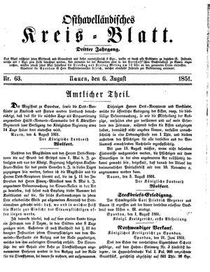 Osthavelländisches Kreisblatt vom 06.08.1851