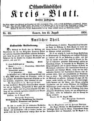 Osthavelländisches Kreisblatt on Aug 13, 1851