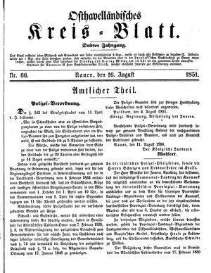Osthavelländisches Kreisblatt vom 16.08.1851