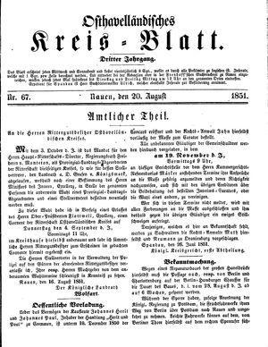 Osthavelländisches Kreisblatt vom 20.08.1851