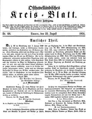 Osthavelländisches Kreisblatt vom 23.08.1851