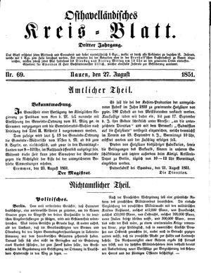 Osthavelländisches Kreisblatt vom 27.08.1851
