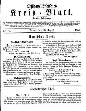 Osthavelländisches Kreisblatt vom 30.08.1851