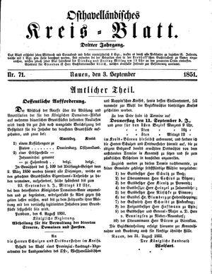 Osthavelländisches Kreisblatt vom 03.09.1851