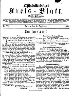 Osthavelländisches Kreisblatt vom 06.09.1851