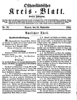 Osthavelländisches Kreisblatt vom 10.09.1851