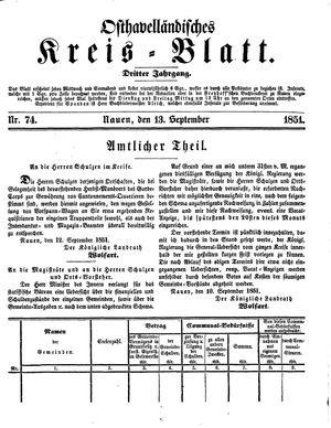 Osthavelländisches Kreisblatt vom 13.09.1851