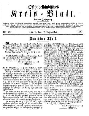 Osthavelländisches Kreisblatt vom 17.09.1851