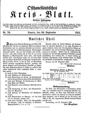 Osthavelländisches Kreisblatt vom 20.09.1851