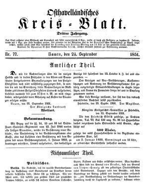 Osthavelländisches Kreisblatt vom 24.09.1851