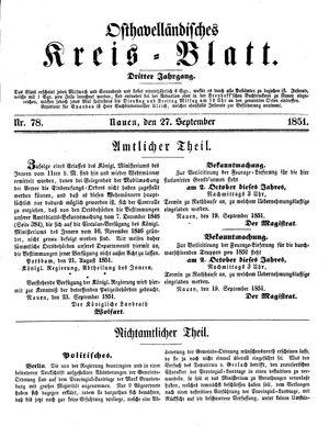 Osthavelländisches Kreisblatt vom 27.09.1851