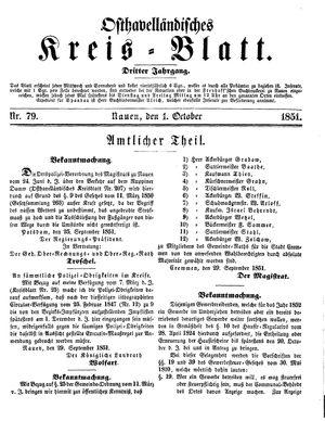 Osthavelländisches Kreisblatt vom 01.10.1851