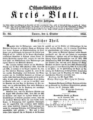 Osthavelländisches Kreisblatt vom 04.10.1851
