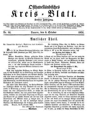 Osthavelländisches Kreisblatt vom 08.10.1851