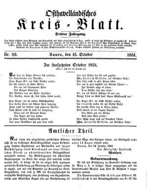 Osthavelländisches Kreisblatt vom 15.10.1851