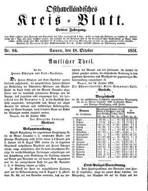 Osthavelländisches Kreisblatt vom 18.10.1851