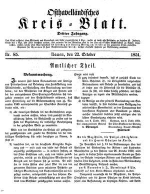 Osthavelländisches Kreisblatt vom 22.10.1851