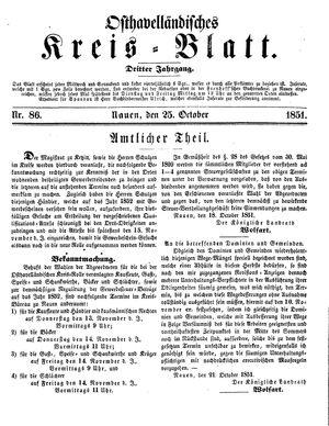 Osthavelländisches Kreisblatt vom 25.10.1851