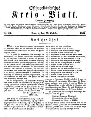 Osthavelländisches Kreisblatt vom 29.10.1851