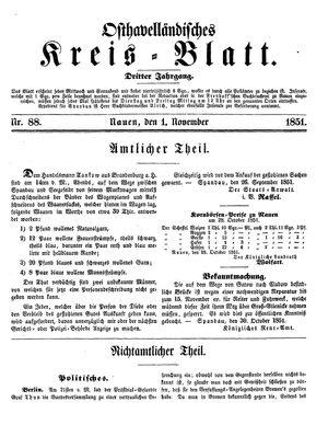 Osthavelländisches Kreisblatt vom 01.11.1851